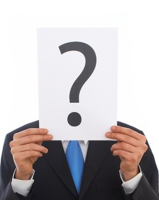 To illustrate internet security concerns, photo of man with question mark