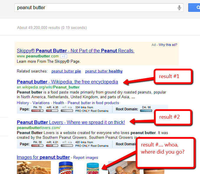 Screen capture of search results for peanut butter